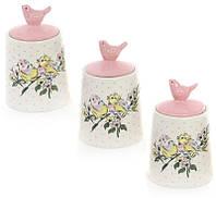 """Набор 3 керамические баночки """"Весенняя трель"""" 175мл, розовые"""