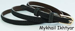 Замшевый ремень-поясок женский кожаный, 2004 серый ДхШ: 118х1 см.