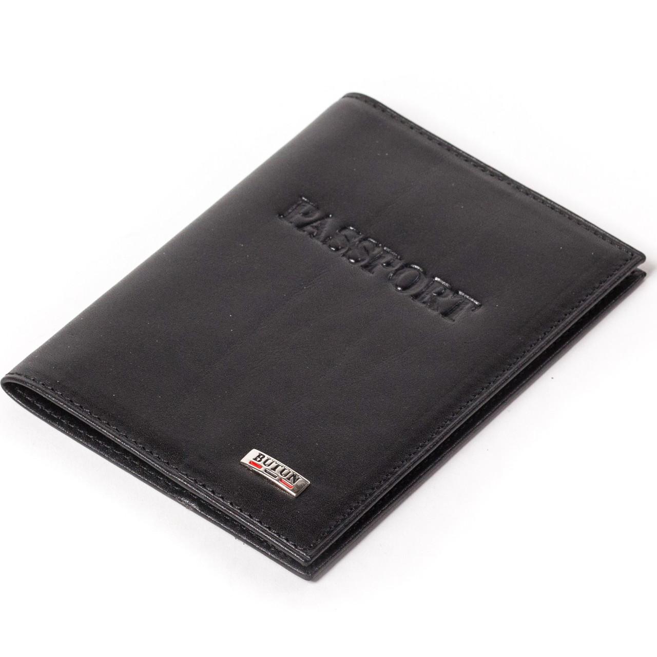 Кожаная обложка на паспорт черная Butun 147-024-001