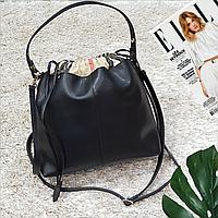 Женская кожаная сумка черная большая повседневная, фото 1