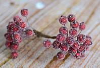 Искусственные ягоды шиповника темно-бордового цвета