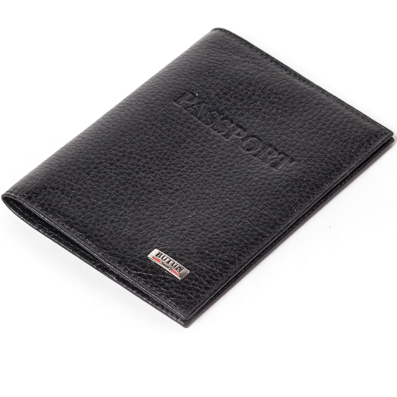 Кожаная обложка на паспорт черная Butun 147-004-001