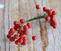 Искусственные ягоды калины 12 мм красной 40 шт, фото 1
