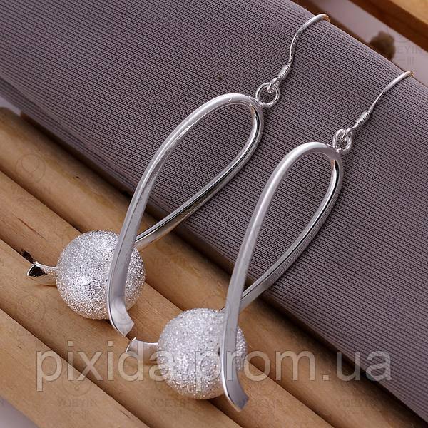 Сережки серебристые Аэлита покрытие 925 серебро проба