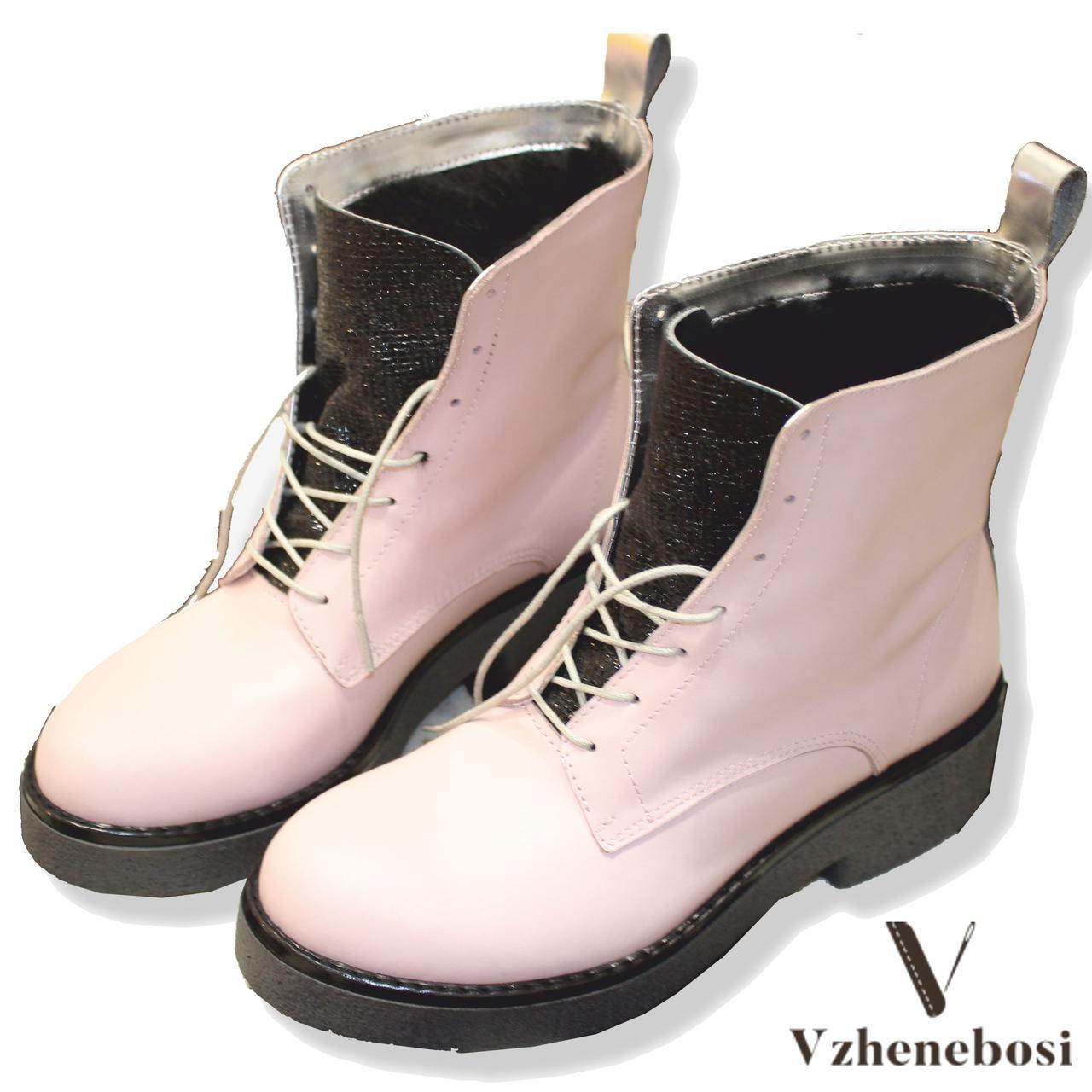 Зимние женские ботинки ручной работы с серебром