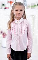 Школьная блузка  с декором рюшами-плиссе мод. 5178 голубая 140 розовый