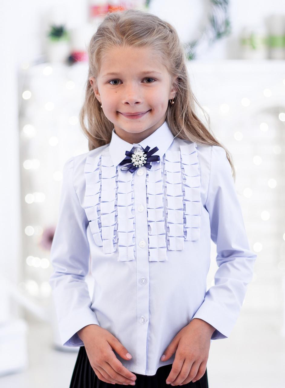 Школьная блузка  с декором рюшами-плиссе мод. 5178 розовая 146 голубой