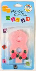 Свеча-цифра на торт 8 розовая с блестками