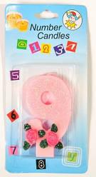 Свеча-цифра на торт 9 розовая с блестками