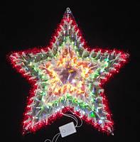 Яркое красивое панно «звезда», для новогоднего оформления интерьера и ёлки, разноцветная электро-гирлянда