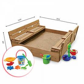 Детская деревянная песочница с лавочками SportBaby