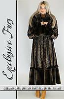 Женская шуба из искусственной норки, коричневый цвет №31