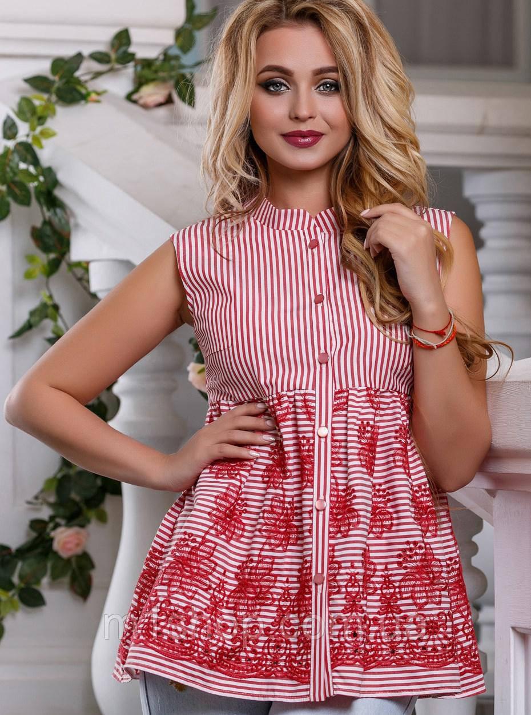 Женская блузка без рукавов расширенная к низу (2628-2627 svt)