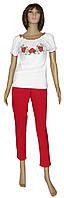Вышиванка женская молодежная с коротким рукавом 03077 Маки и Ромашки, интерлок, р.р.40-42