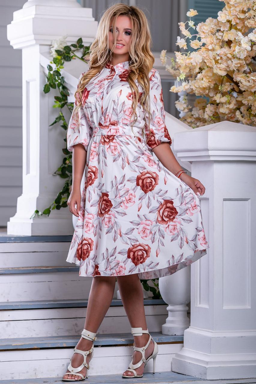 844310186e9 Белое летнее платье с цветочным принтом и пышной юбкой до колен ...