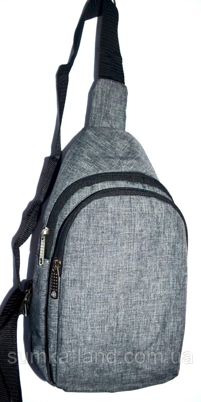 Мужская сумка на плечо серая 15*29 см
