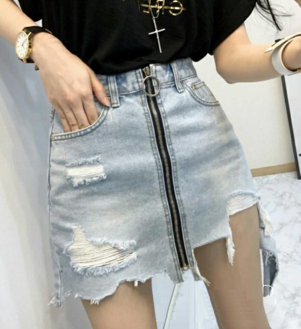 Короткая джинсовая юбка с застежкой-молнией 42-46 р