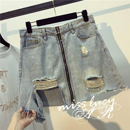 Короткая джинсовая юбка с застежкой-молнией 42-46 р, фото 2