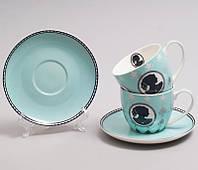 """Чайный набор """"Силуэт"""" 2 бирюзовые чашки 280мл с блюдцами"""