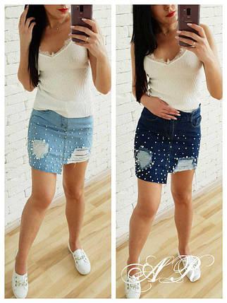 Асимметричная короткая джинсовая юбка с жемчужными заклепками 42-44 р, фото 2