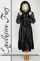 Женская шуба из искусственной норки, черный цвет №30