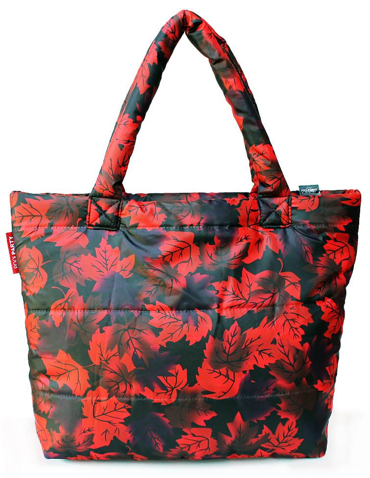 Женская сумка POOLPARTY pp4-red-leaves черная