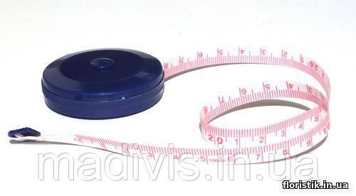 Сантиметр рулетка с кнопкой, 150 см.