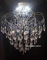 Хрустальная потолочная люстра 4+4 LED лампы хром