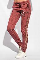 Женские брюки с гипюровой вставкой