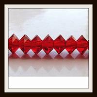 Хрустальные бусины Юла с огранкой (6*4 мм) красные (100 шт)