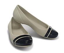 Балетки женские литые туфли Кроксы Кап Той / Crocs Women's Cap Toe Flat (12300), Молочные