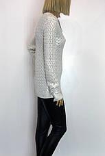 Жіночий білий джемпер із срібним напиленням Portofino , фото 2