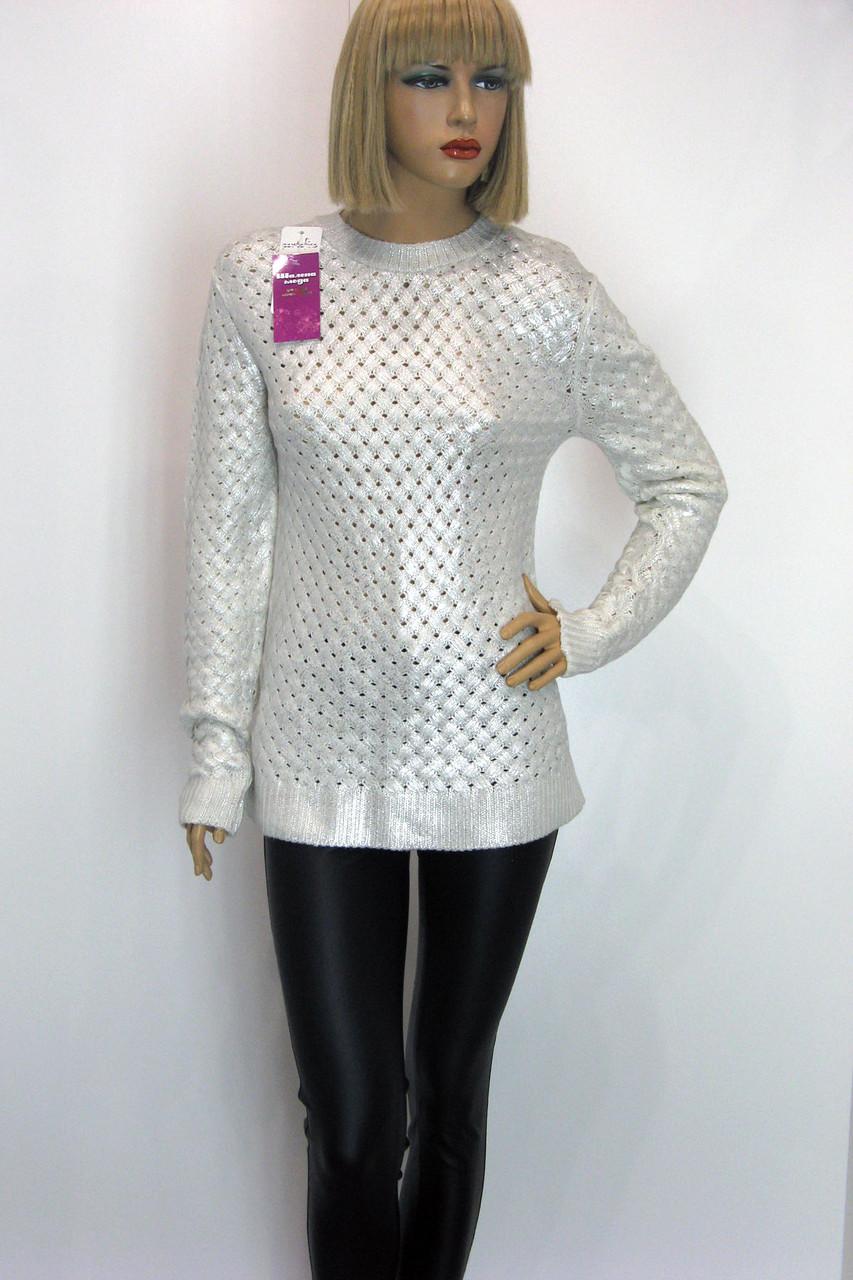 Жіночий білий джемпер із срібним напиленням Portofino
