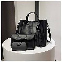 Набор сумок 3в1: сумка, клатч, визитница черный, фото 1