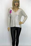 Жіночий вязаний джемпер із срібним напиленням