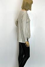 Жіночий вязаний джемпер із срібним напиленням  , фото 2