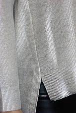 Жіночий вязаний джемпер із срібним напиленням  , фото 3