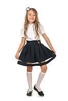 Модная школьная пышная юбка для девочки в синем цвете