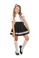 Модная школьная юбка для девочки в черном цвете