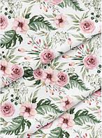 """Лоскуток.  Ткань хлопок  """"Цветы"""" на белом №4-27.  55*150 см."""