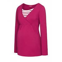 Блузка с топом для кормления, для беременных, цвет малиновый, фото 1