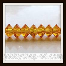 Хрустальные бусины Юла с огранкой (6*4 мм) оранжевые (100 шт)