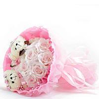Букет из мягких игрушек Мишки Свадебный в розовом
