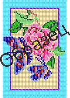 """Схема для вышивки бисером """"Голубые бабочки и роза"""""""