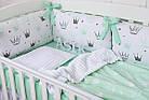 """Детская постель с бортиками-подушками 33*60 см """"Мятные короны"""", фото 2"""