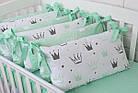 """Детская постель с бортиками-подушками 33*60 см """"Мятные короны"""", фото 6"""