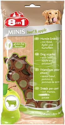Лакомство 8in1 MINIS для собак Говядина и яблоко 100 г