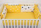 """Детская постель с 6 бортиками-подушками 33*60 см, сменной постелькой, одеялом и подушкой """"Жёлтые короны"""", фото 2"""