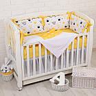 """Детская постель с 6 бортиками-подушками 33*60 см, сменной постелькой, одеялом и подушкой """"Жёлтые короны"""", фото 3"""