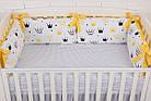 """Детская постель с 6 бортиками-подушками 33*60 см, сменной постелькой, одеялом и подушкой """"Жёлтые короны"""", фото 6"""